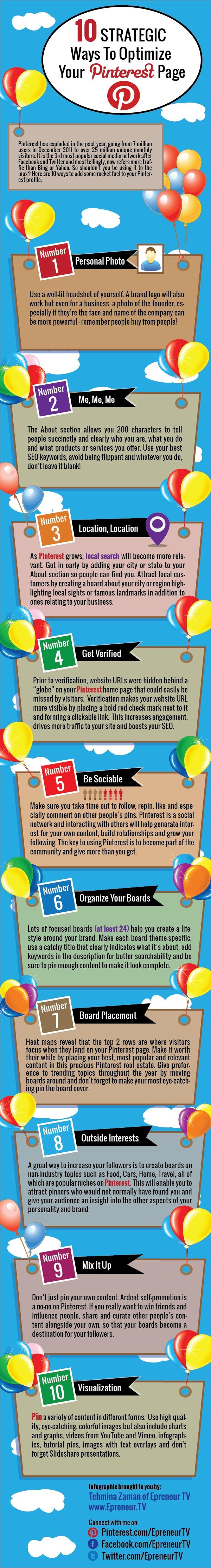 Infographie - 10 stratégie pour Pinterest (eng)
