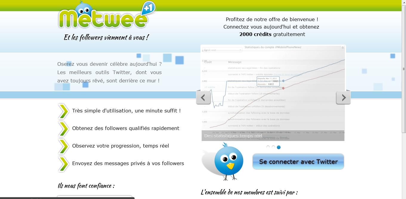 Page d'accueil Metwee