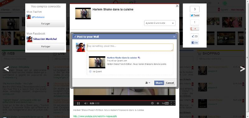 Qwant partage sur Facebook